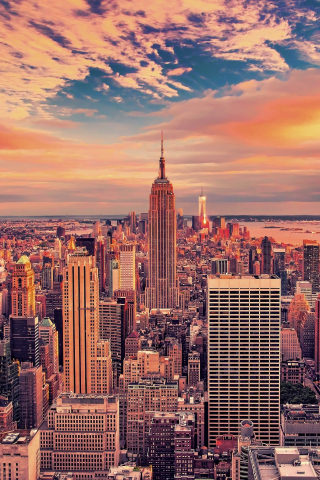 320x480 wallpaper Empire state building, buildings, skyscrapers, new york city, sunset, 4k