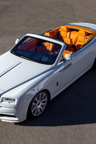 320x480 wallpaper White Rolls-Royce Dawn, top view, luxury car