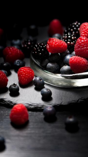 360x640 wallpaper Dark mood, food, fruits, blueberry, raspberry, blackberry, 4k