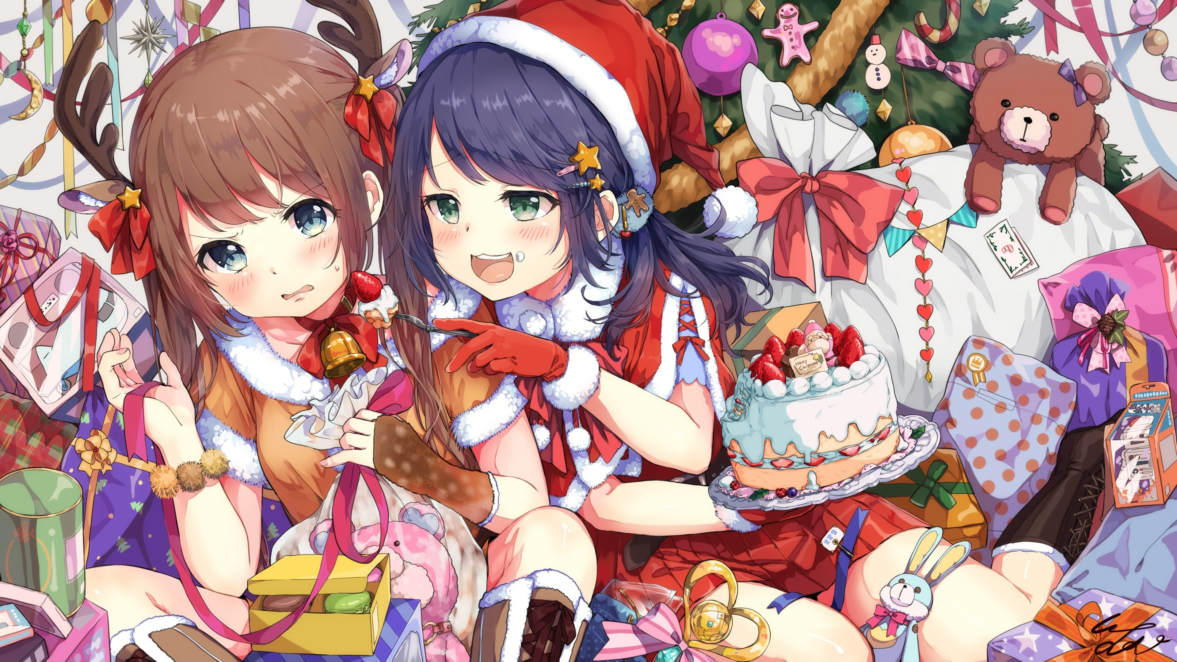 christmas party anime girls cute