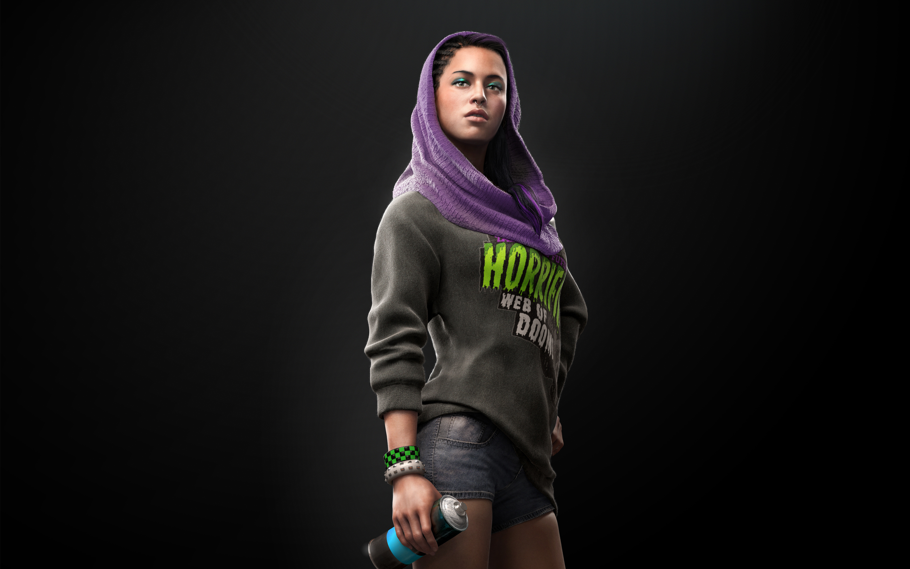 Download 3840x2400 Wallpaper Watch Dogs 2 Girl Scarf Video Game