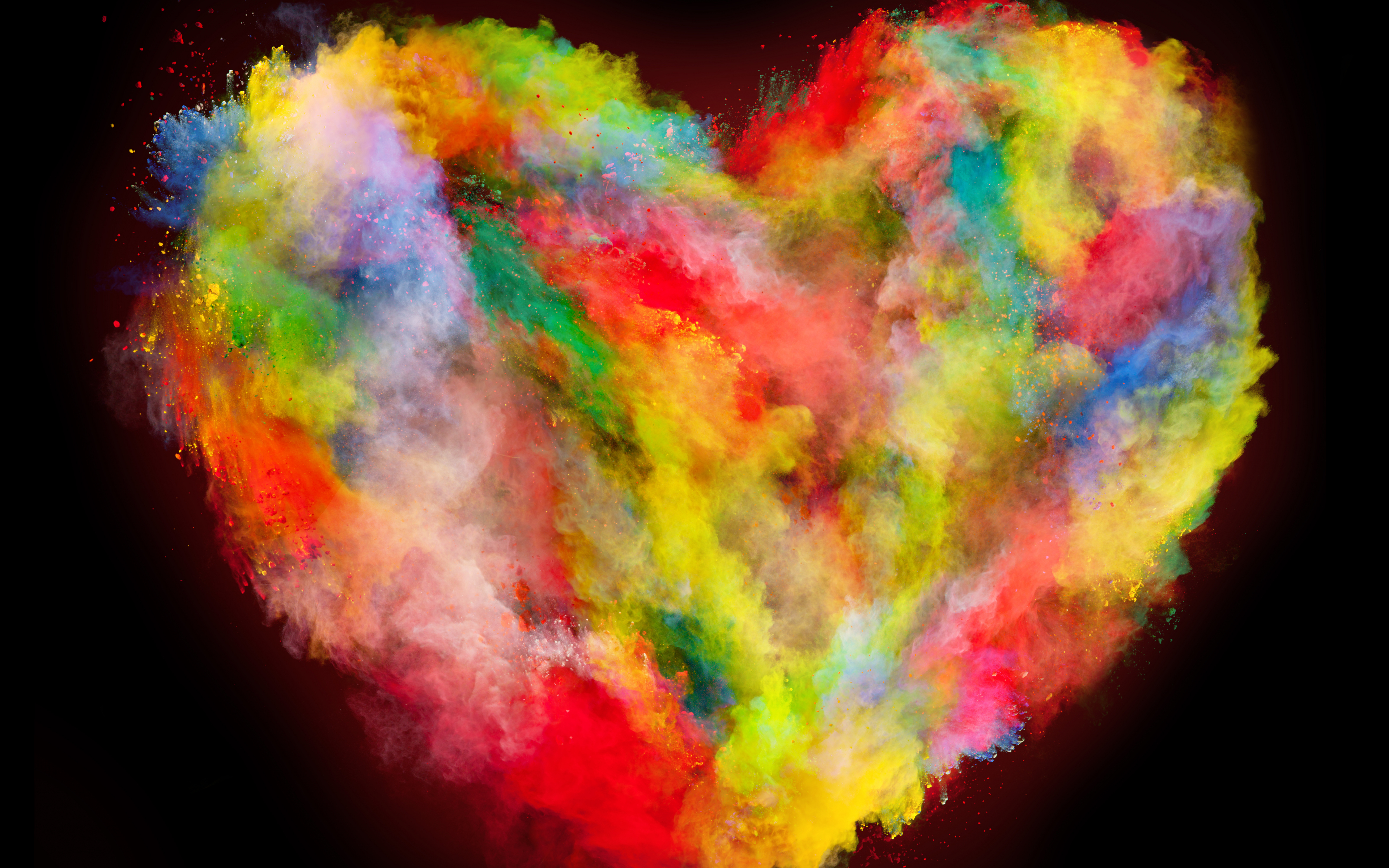 Download 3840x2400 Wallpaper Heart Colorful Explosion