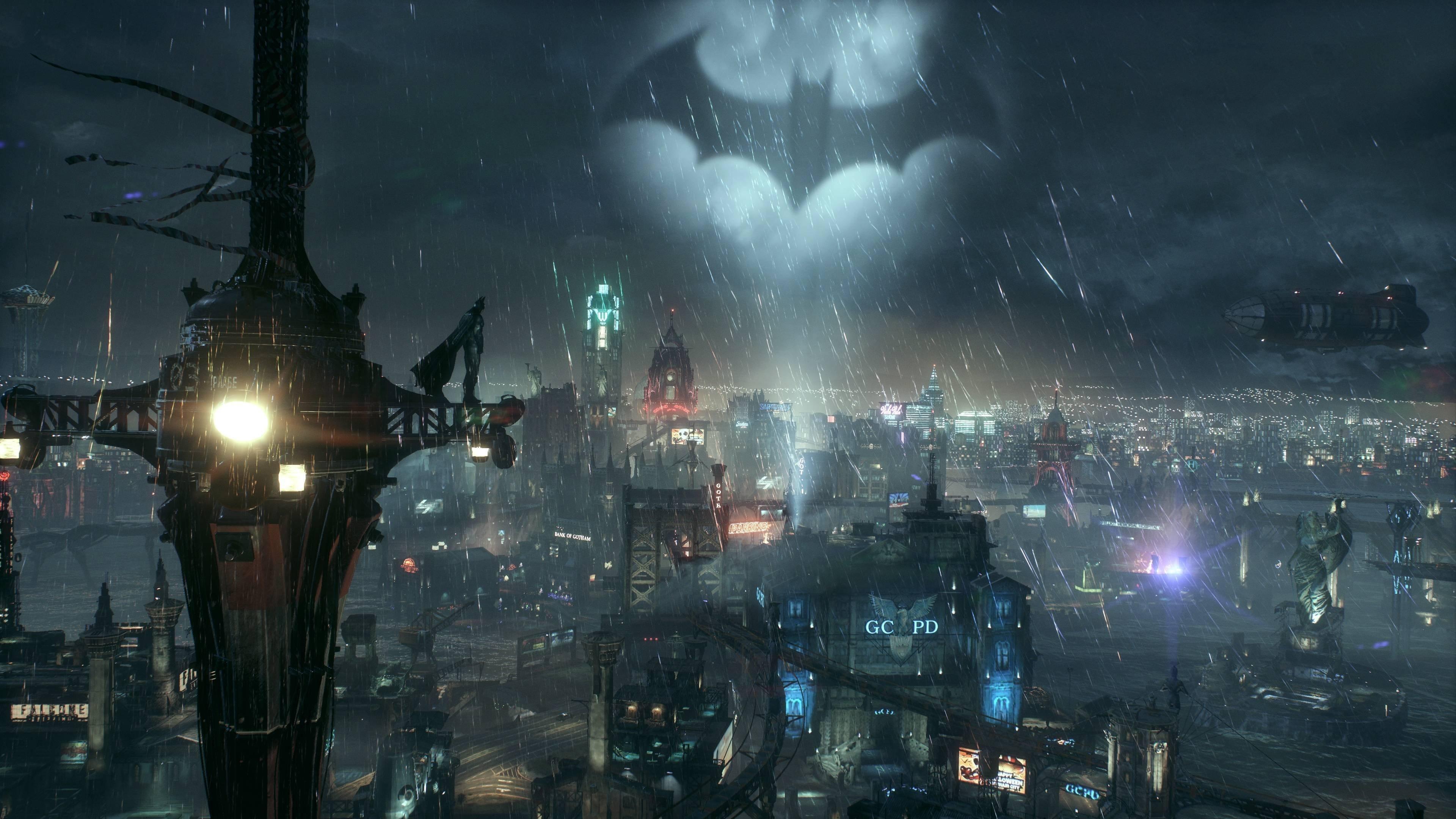 Download 3840x2400 Wallpaper Bat Light Sky Night Batman