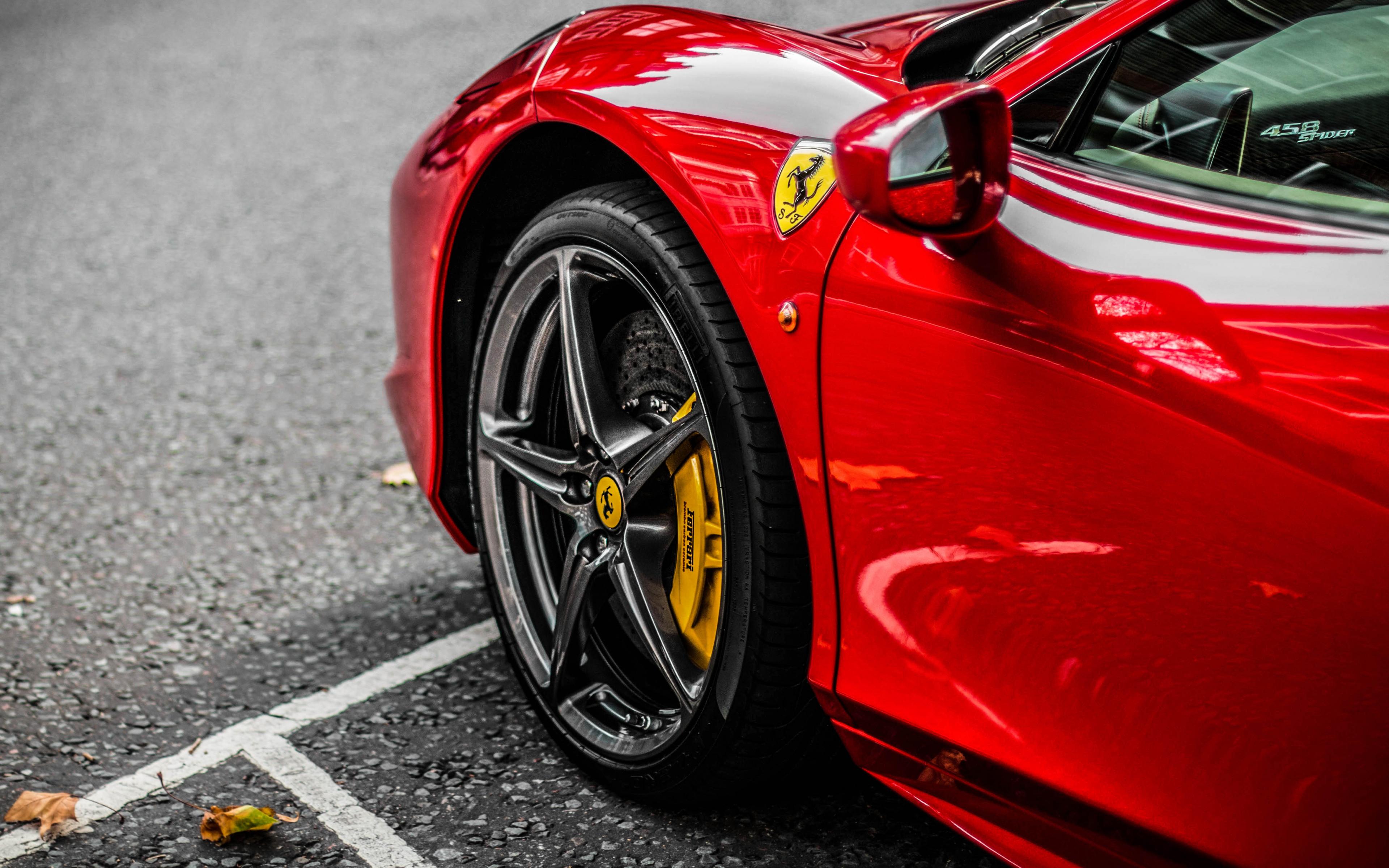 Download 3840x2400 Wallpaper Red Supercar, Ferrari, Wheel, 4k, 4 K, Ultra Hd 16:10, Widescreen