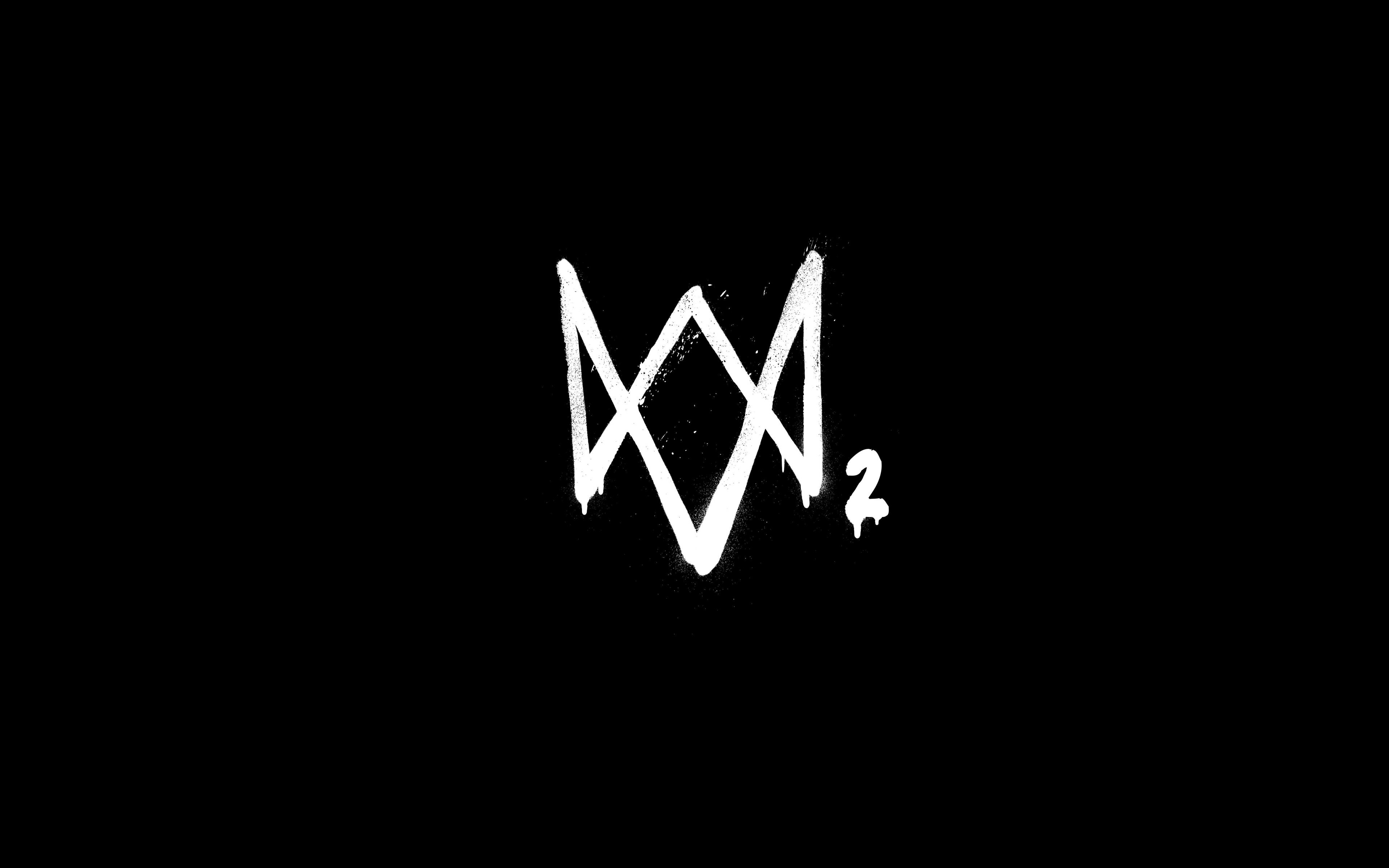 Download 3840x2400 Wallpaper Watch Dogs 2 Logo Minimal Dark 4 K