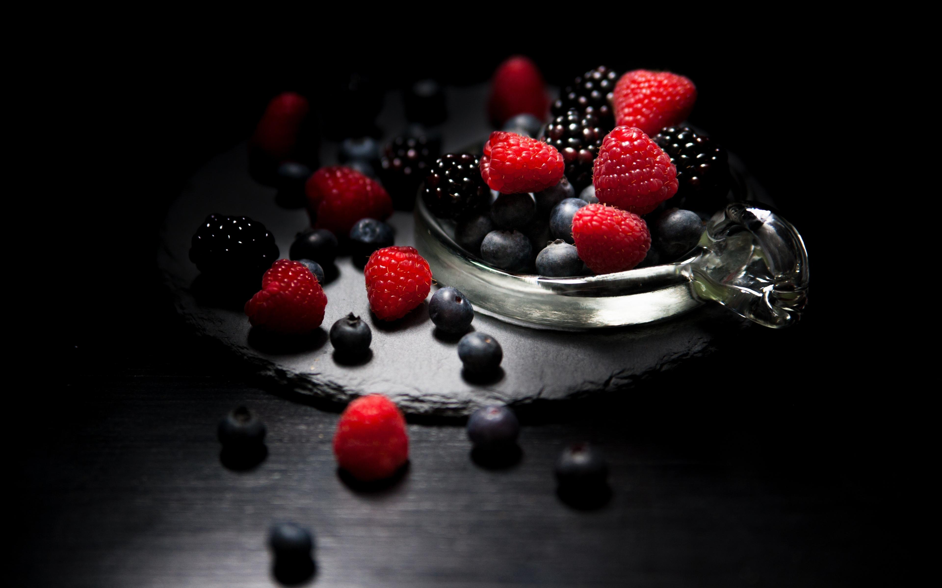 3840x2400 wallpaper Dark mood, food, fruits, blueberry, raspberry, blackberry, 4k