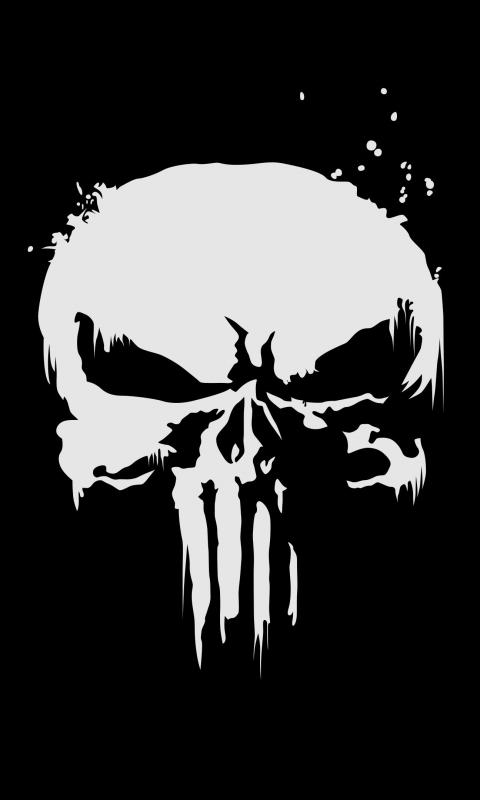 Download 480x800 Wallpaper The Punisher Logo Skull Dark 4k