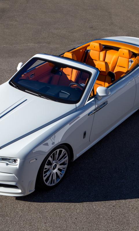 480x800 wallpaper White Rolls-Royce Dawn, top view, luxury car