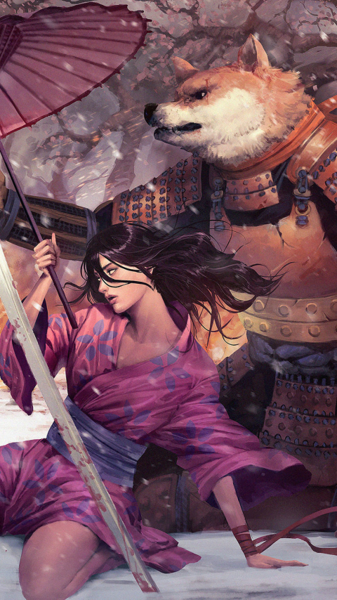 Download 480x854 Wallpaper Warriors, Woman And Wolf, Fantasy