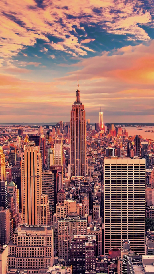 540x960 wallpaper Empire state building, buildings, skyscrapers, new york city, sunset, 4k