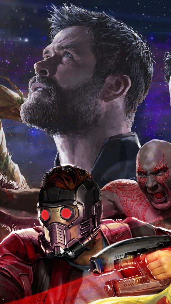 Download 720x1280 Wallpaper Avengers: Infinity War, Thor, Groot, Fan