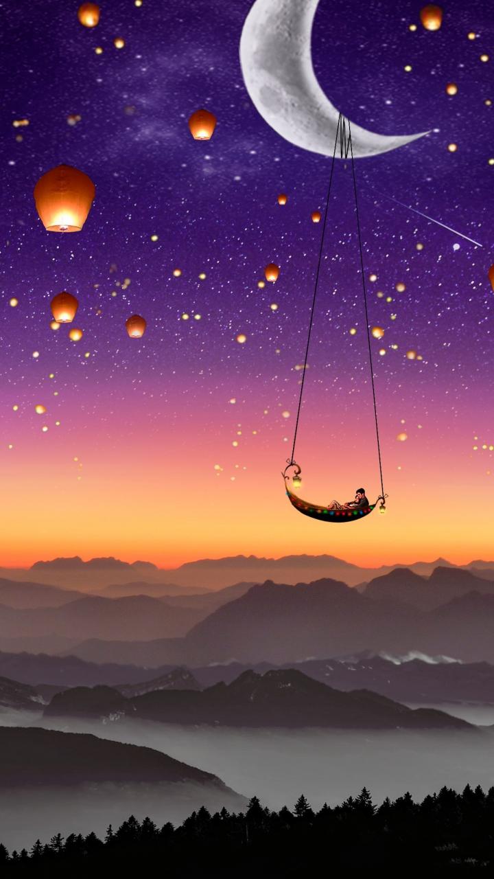 Best Wallpaper Night Couple - couple-moon-lanterns  HD.jpg