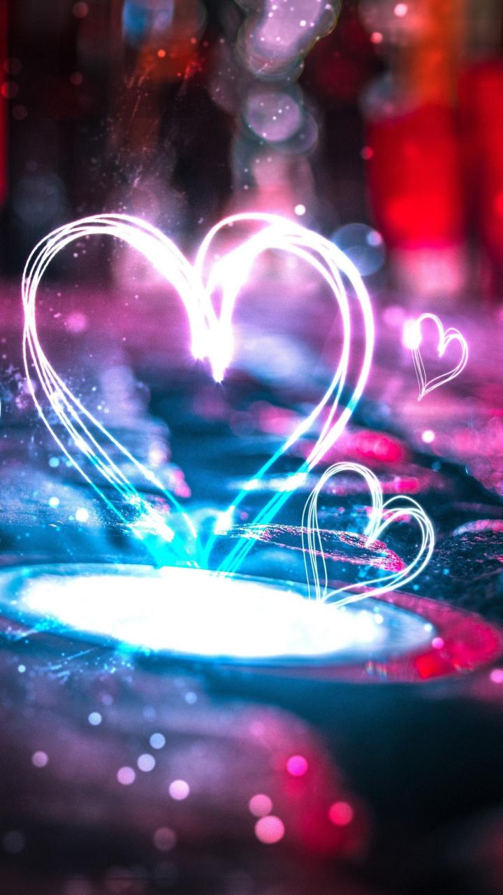 Samsung Galaxy S3 720x1280 Wallpaper Neon Love Hearts Lights 4k