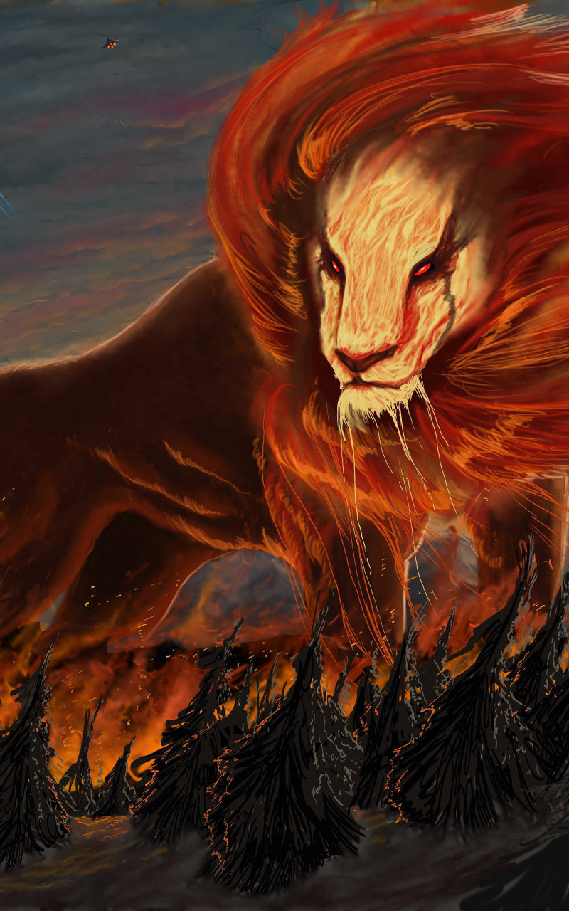 lion flames scifi abstract