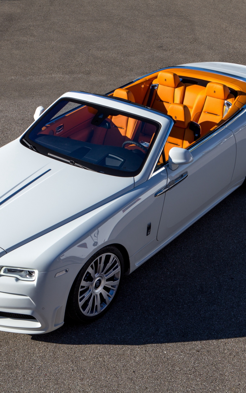 800x1280 wallpaper White Rolls-Royce Dawn, top view, luxury car