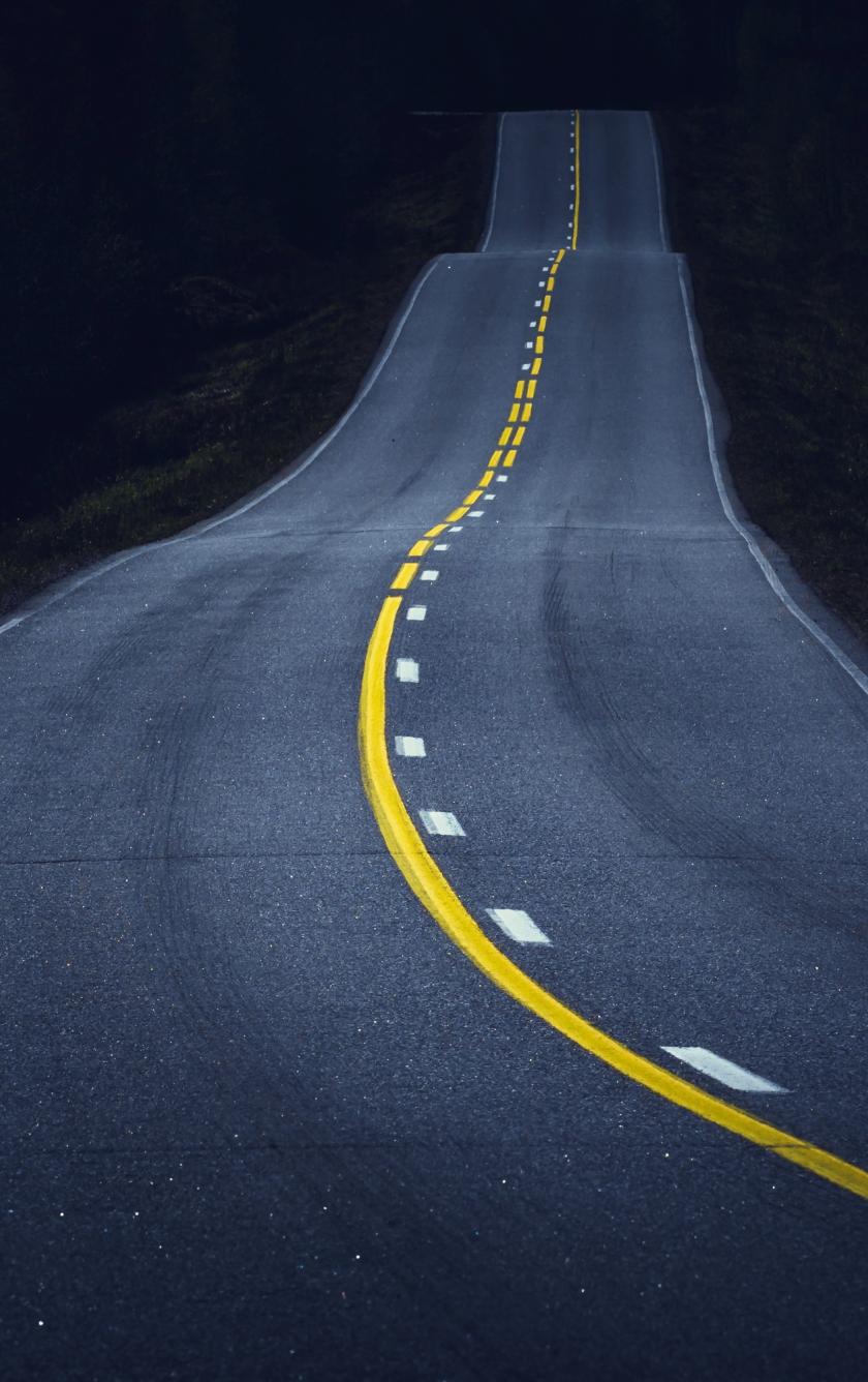 840x1336 wallpaper Midnight, road, highway