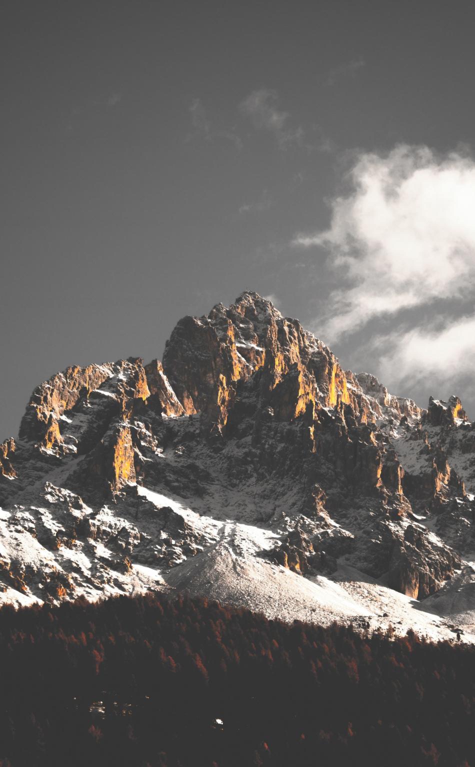 950x1534 wallpaper Mountains, cliffs, nature, tree, 5k