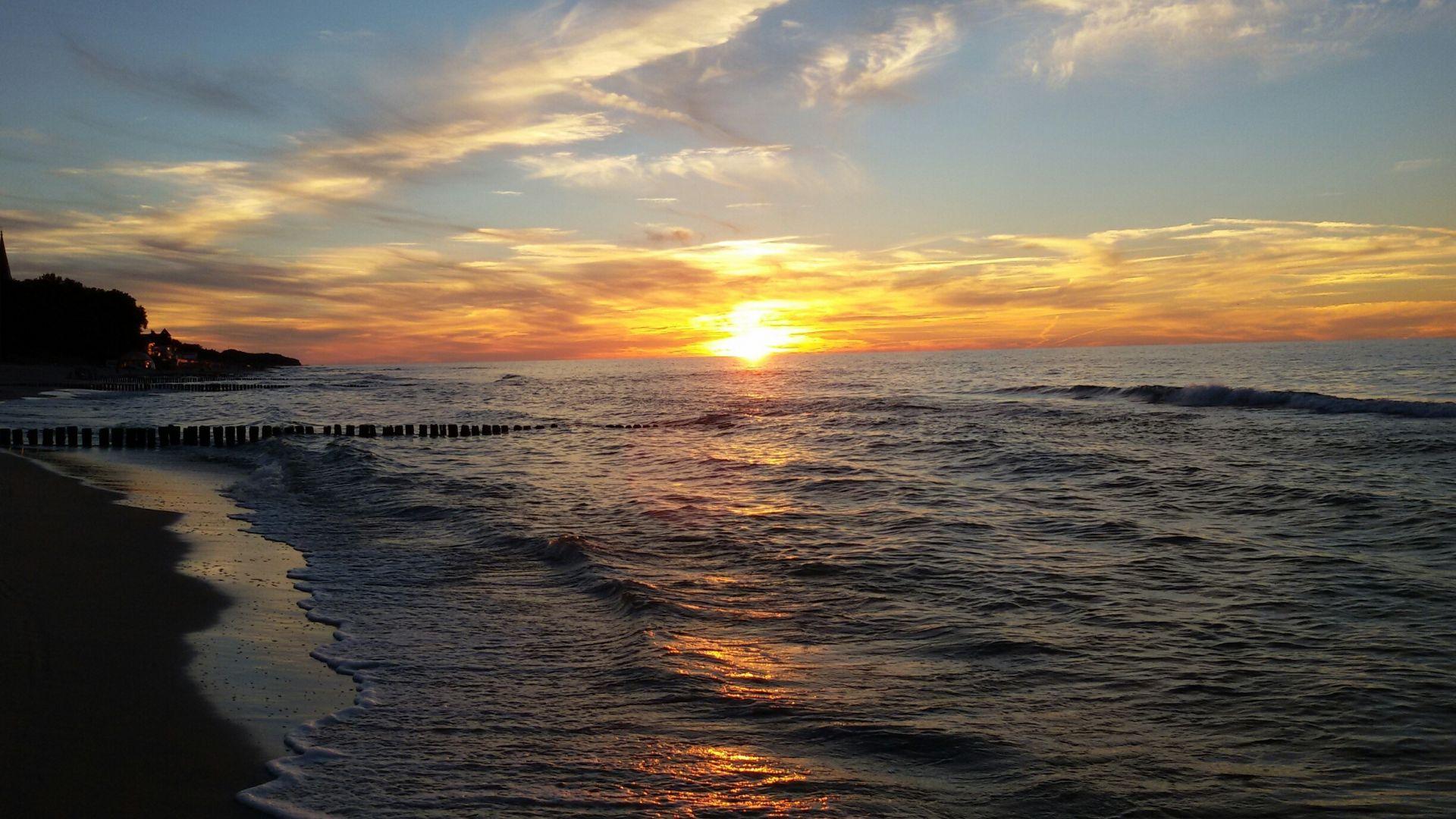 sunset sea nature wallpaper