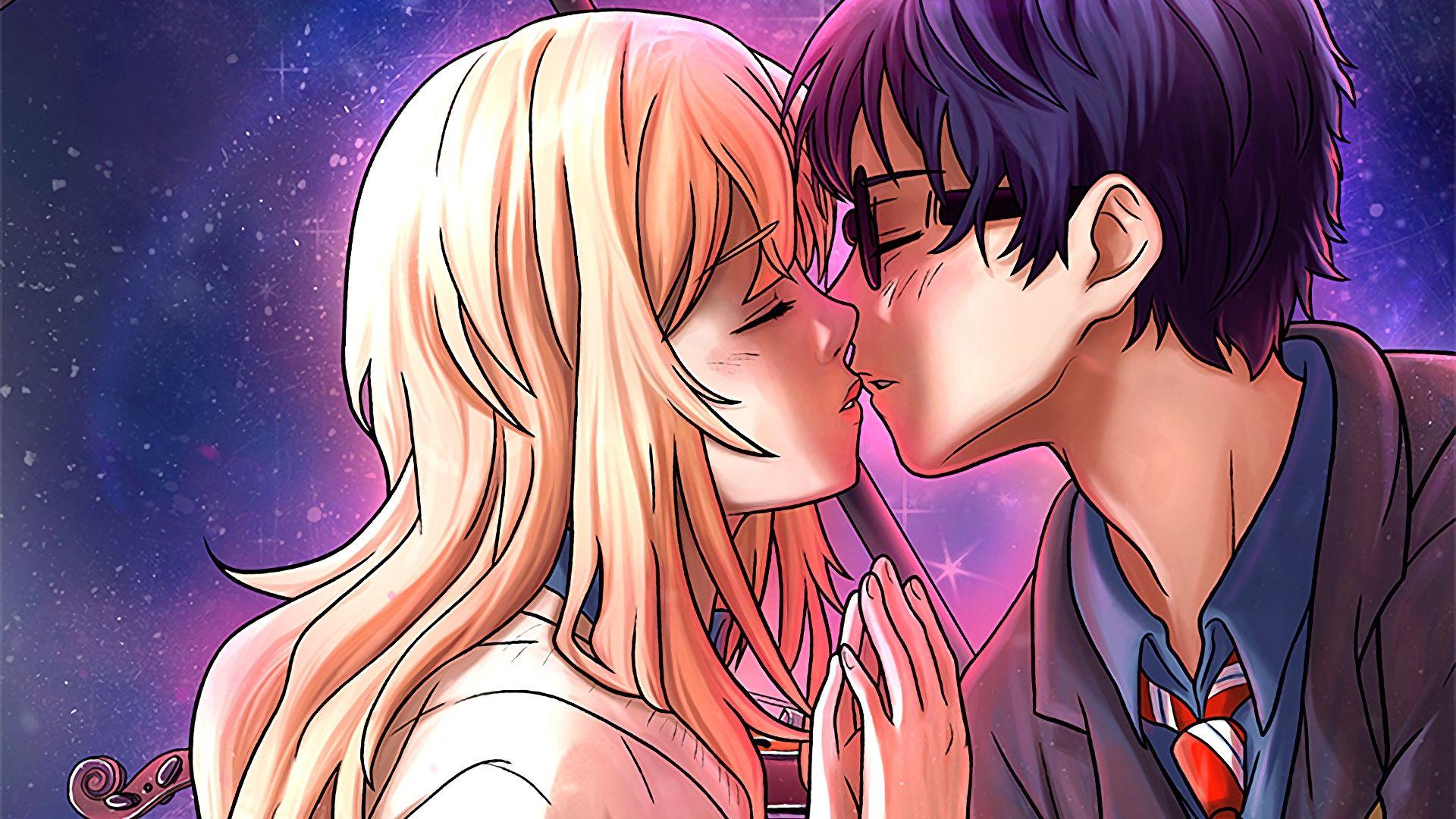 Wallpaper Kaori Miyazono, Kousei Arima, anime, couple, kiss