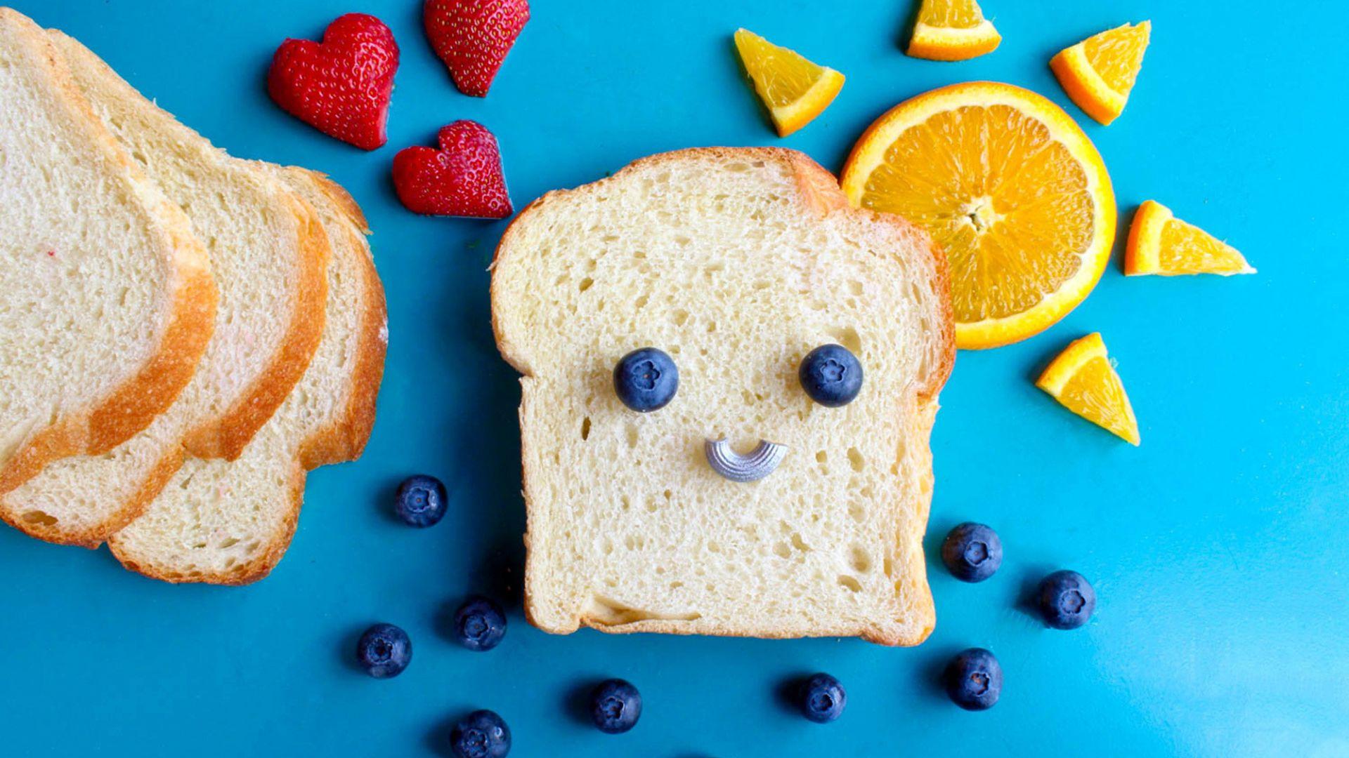 Wallpaper Bread, blueberries, orange, strawberries, food art