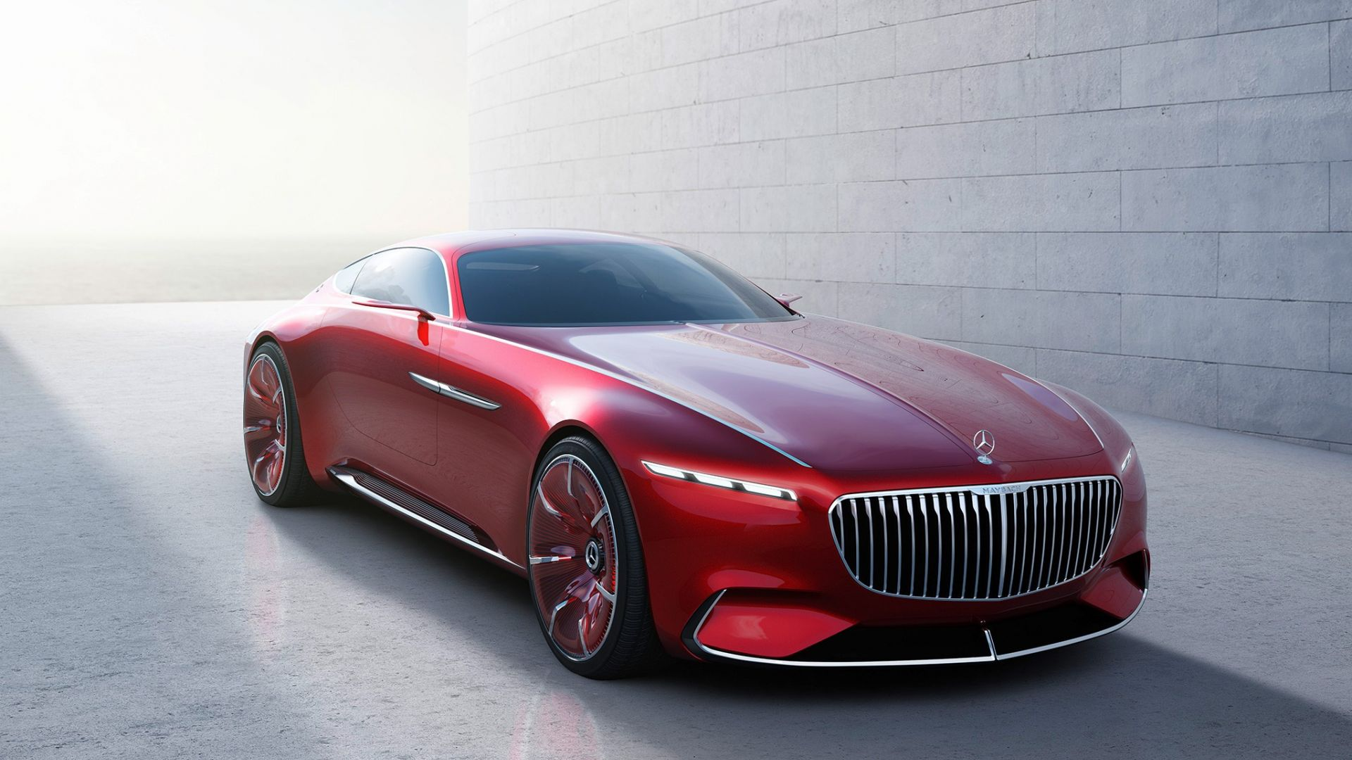 Wallpaper Vision Mercedes-Maybach 6, red, luxury car