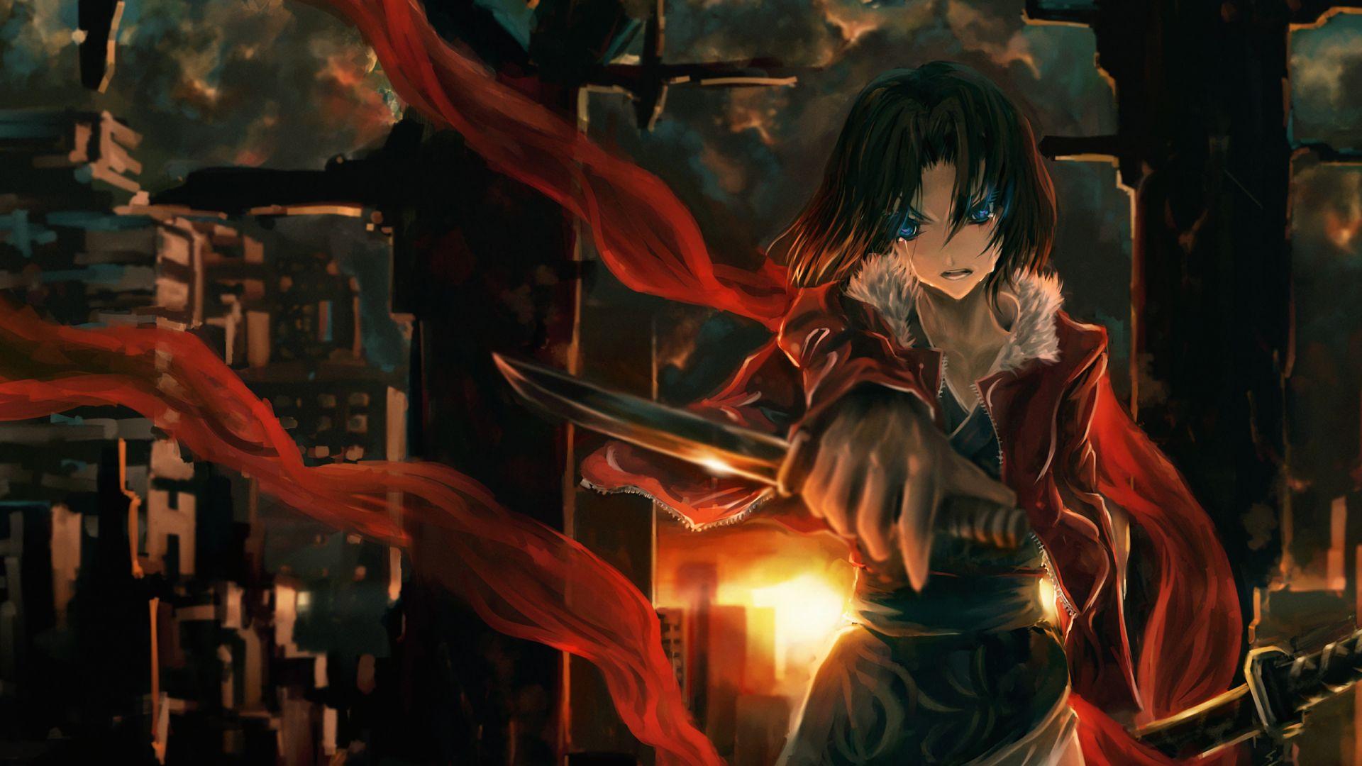 Wallpaper Ryougi Shiki, Fate/Grand Order, sword, anime girl, art