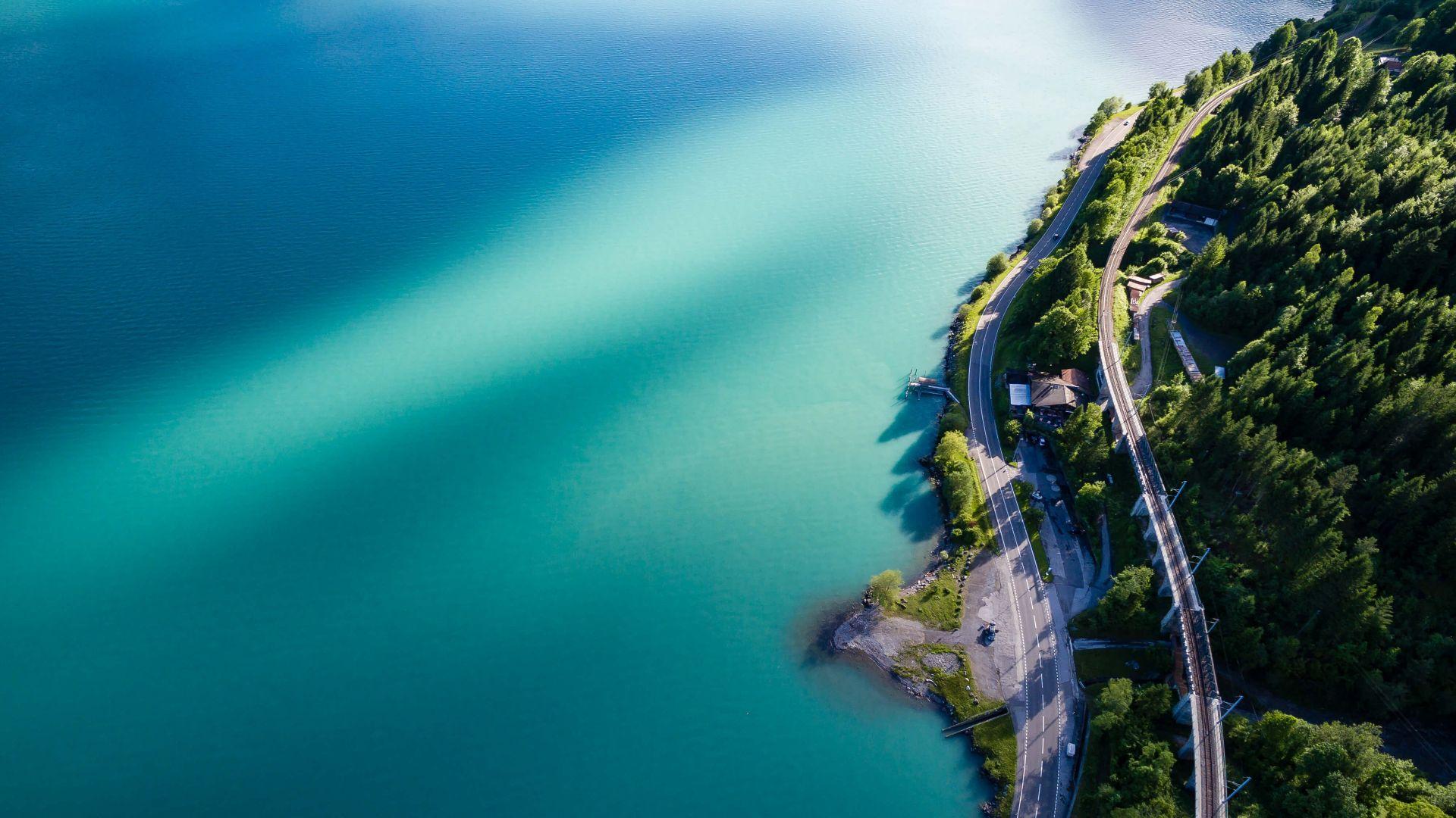 Wallpaper Road, railroad, beach, tree, aerial view