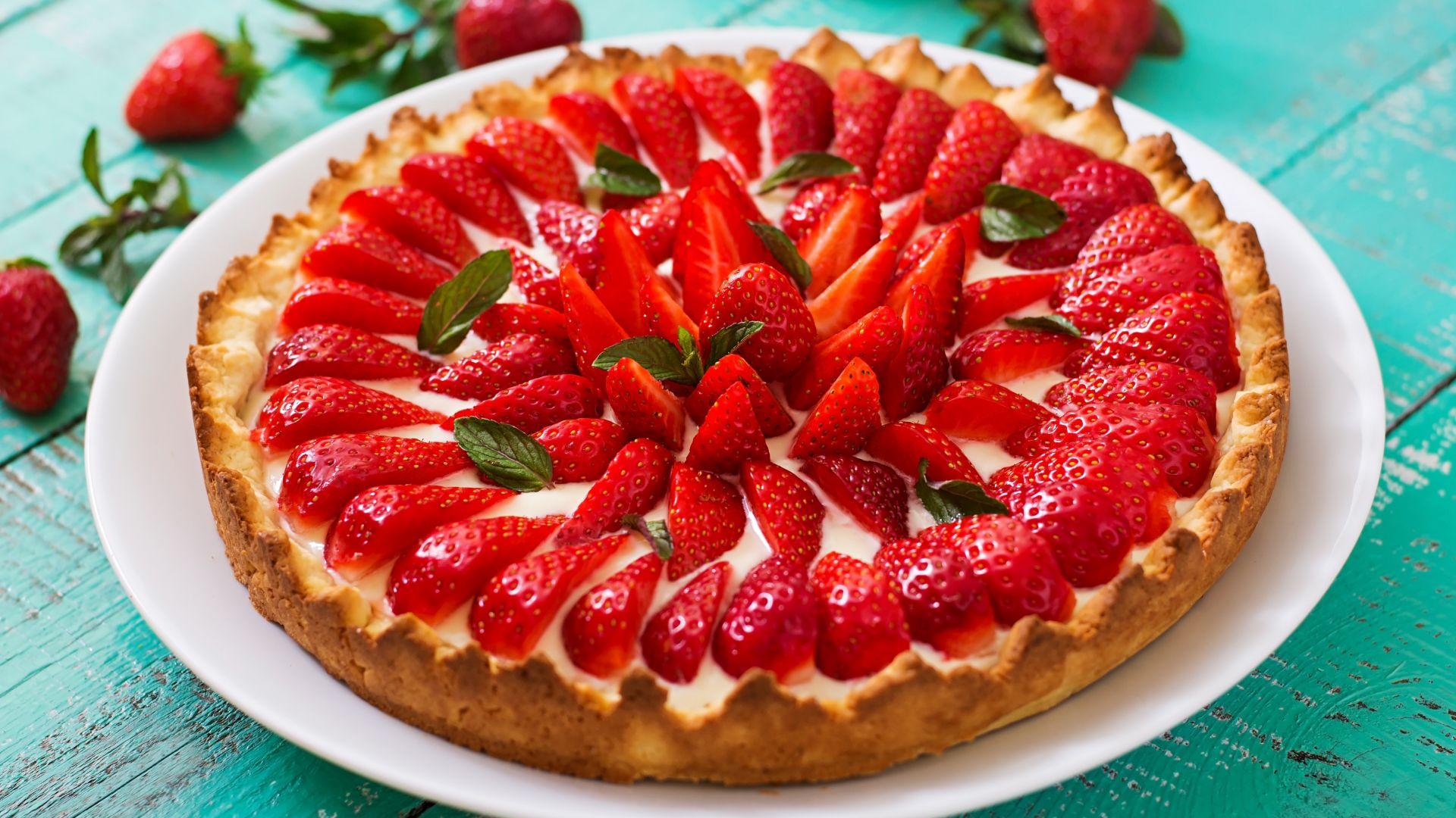 Wallpaper Strawberry pie, cake, food, 5k