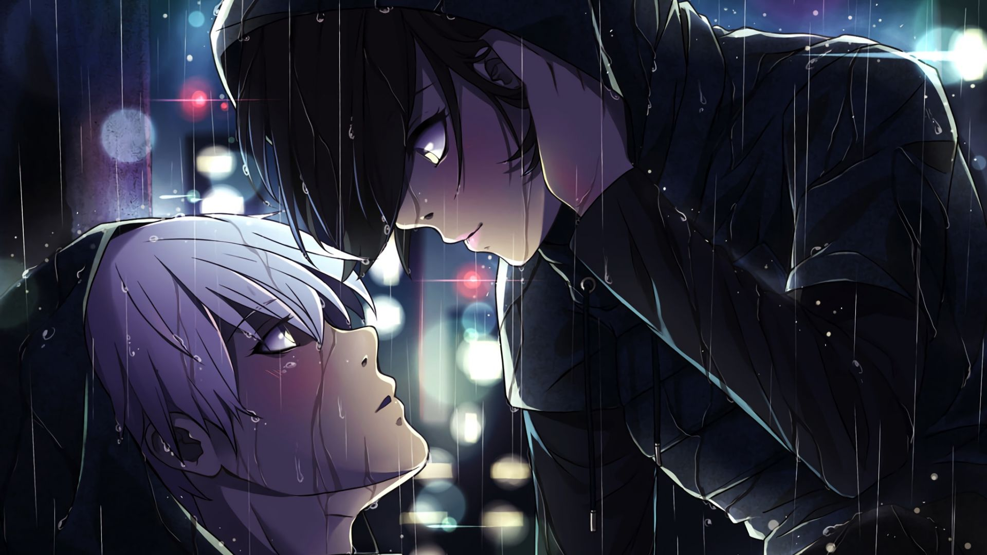 Desktop Wallpaper Ken Kaneki Touka Kirishima Anime Tokyo Ghoul Rain Hd Image Picture Background 11a70d