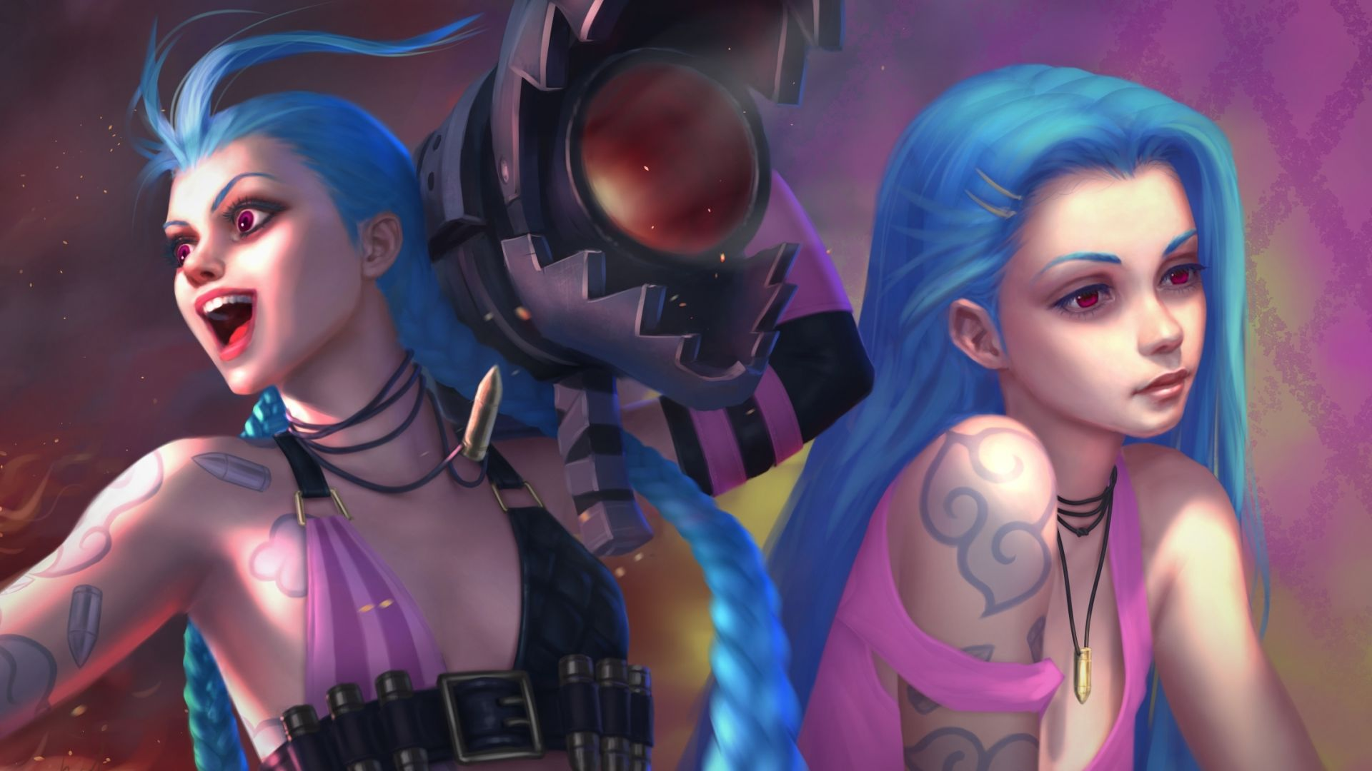 Wallpaper Jinx, blue hair, League of legends, online game, art