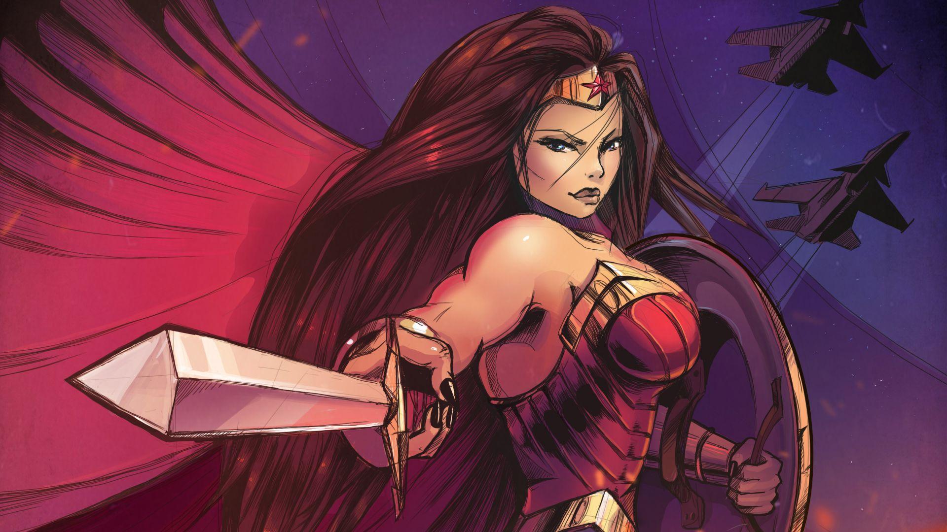 Desktop Wallpaper Wonder Woman Fanart Superhero 4k Hd Image