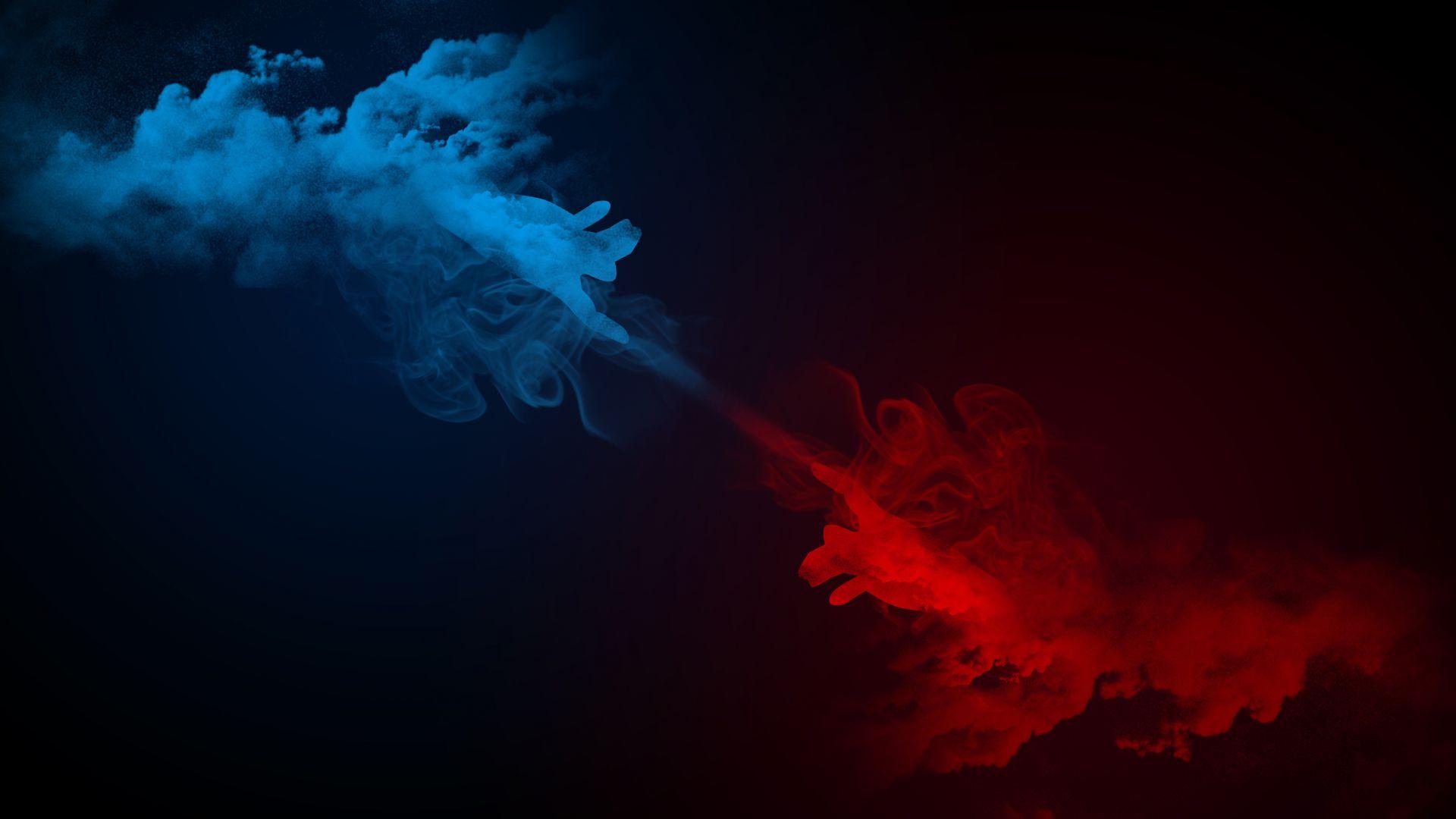 Desktop Wallpaper Smoke, Hands, Digital Art, Abstract, 5k