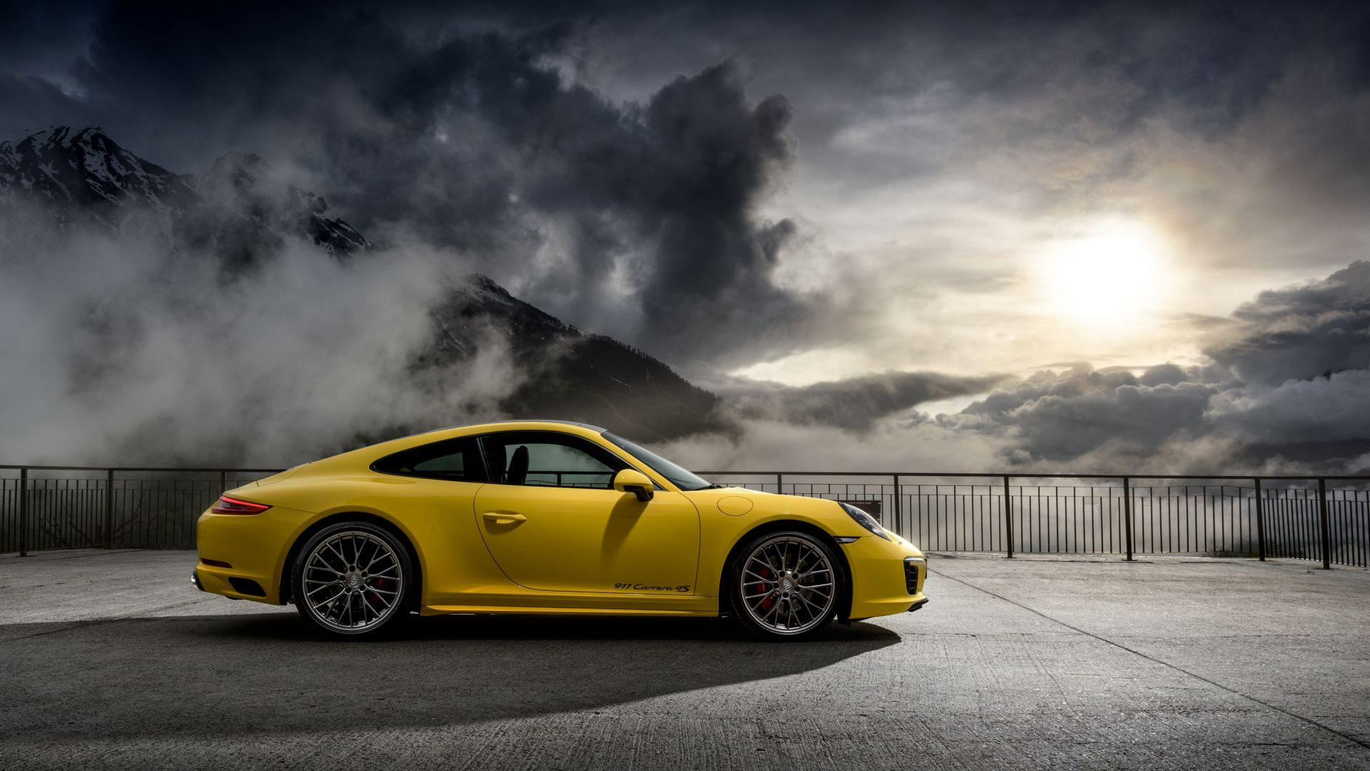 Awesome Porsche 911 Carrera 4 S, Yellow Sports Car, 4k Wallpaper