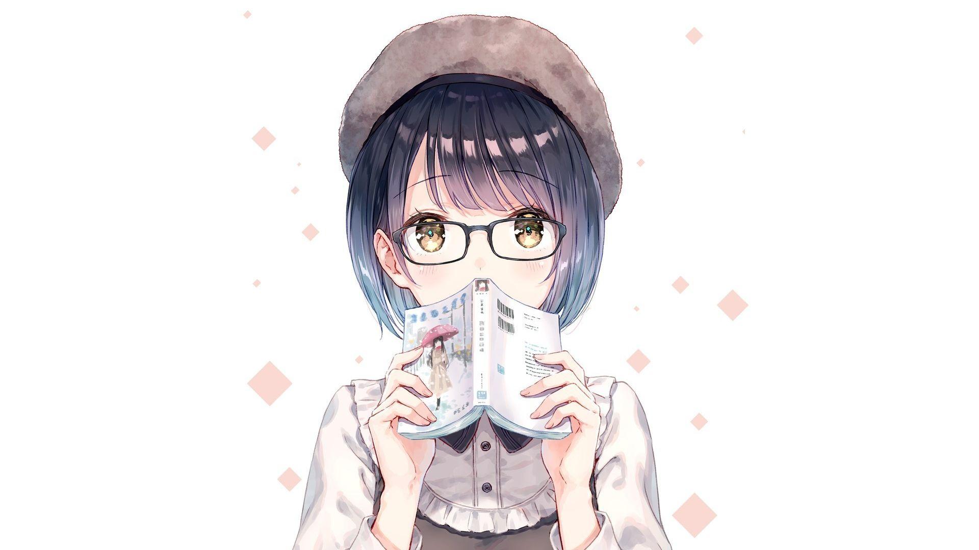 Wallpaper Anime girl, short hair, book