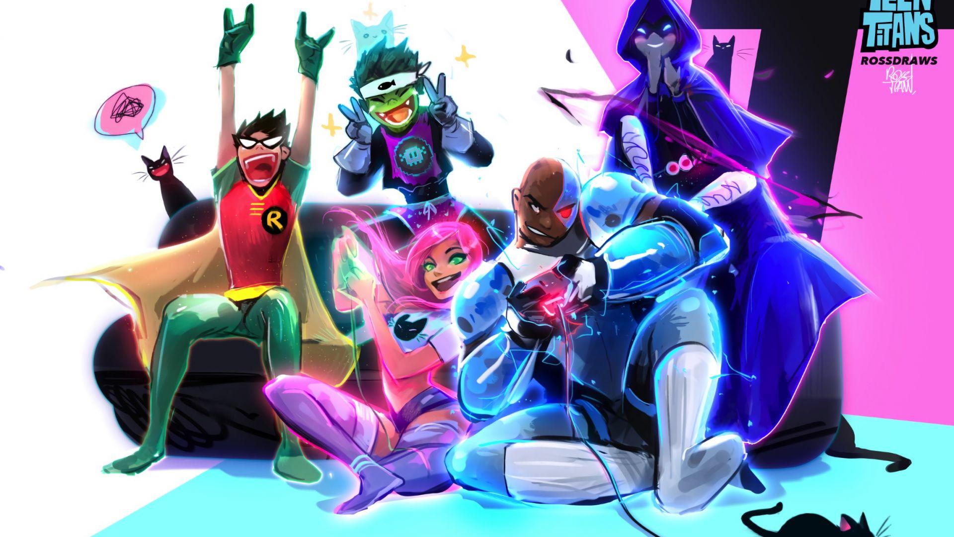 Desktop Wallpaper Teen Titans, Tv Series, Cartoon, Superhero, Robin, Cyborg, Play, Art -8061