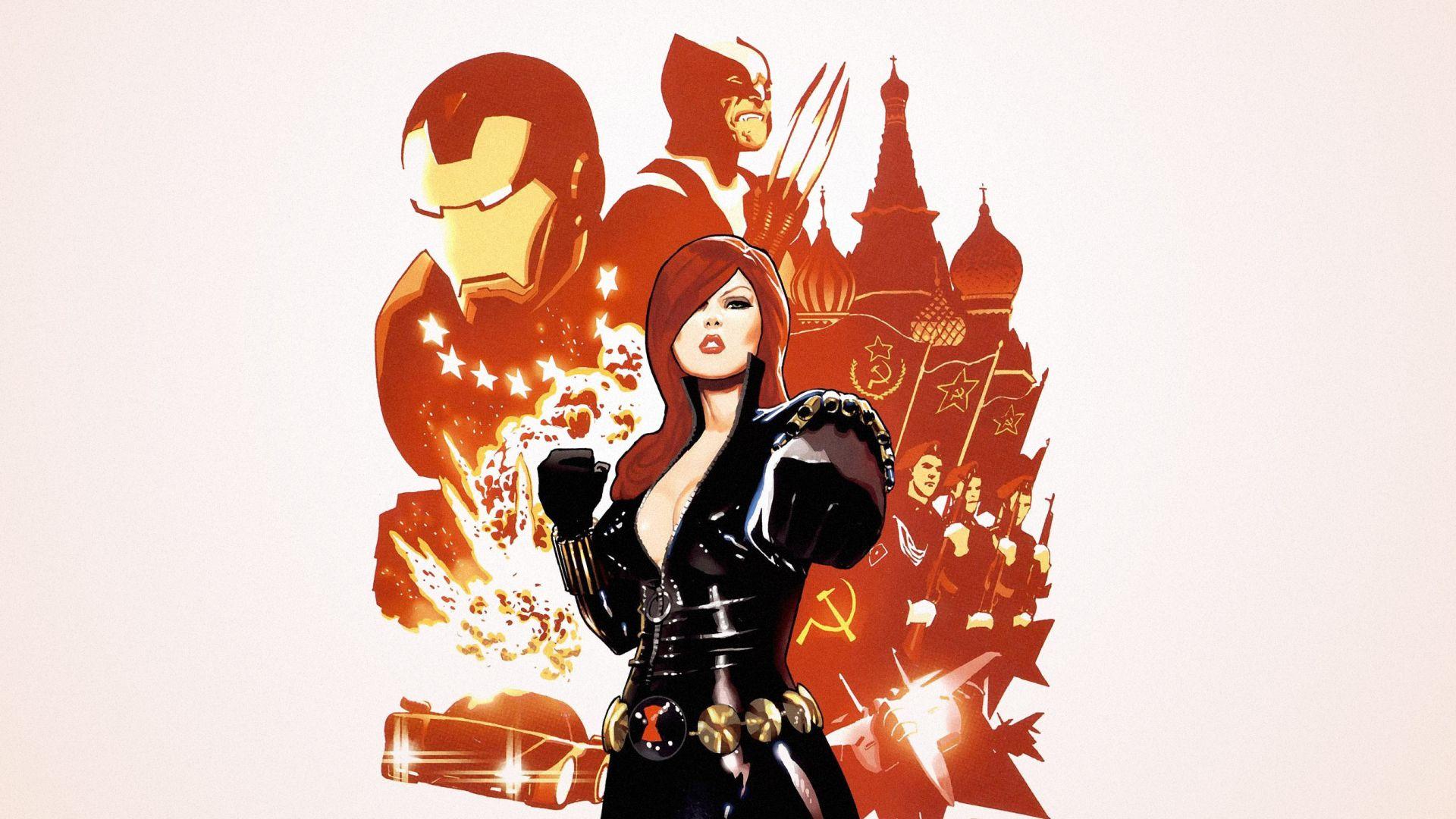 Wallpaper Black widow, minimal, marvel comics