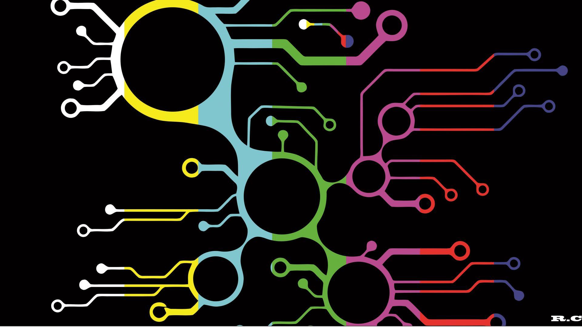 Wallpaper Digital artwork of electronic circuit