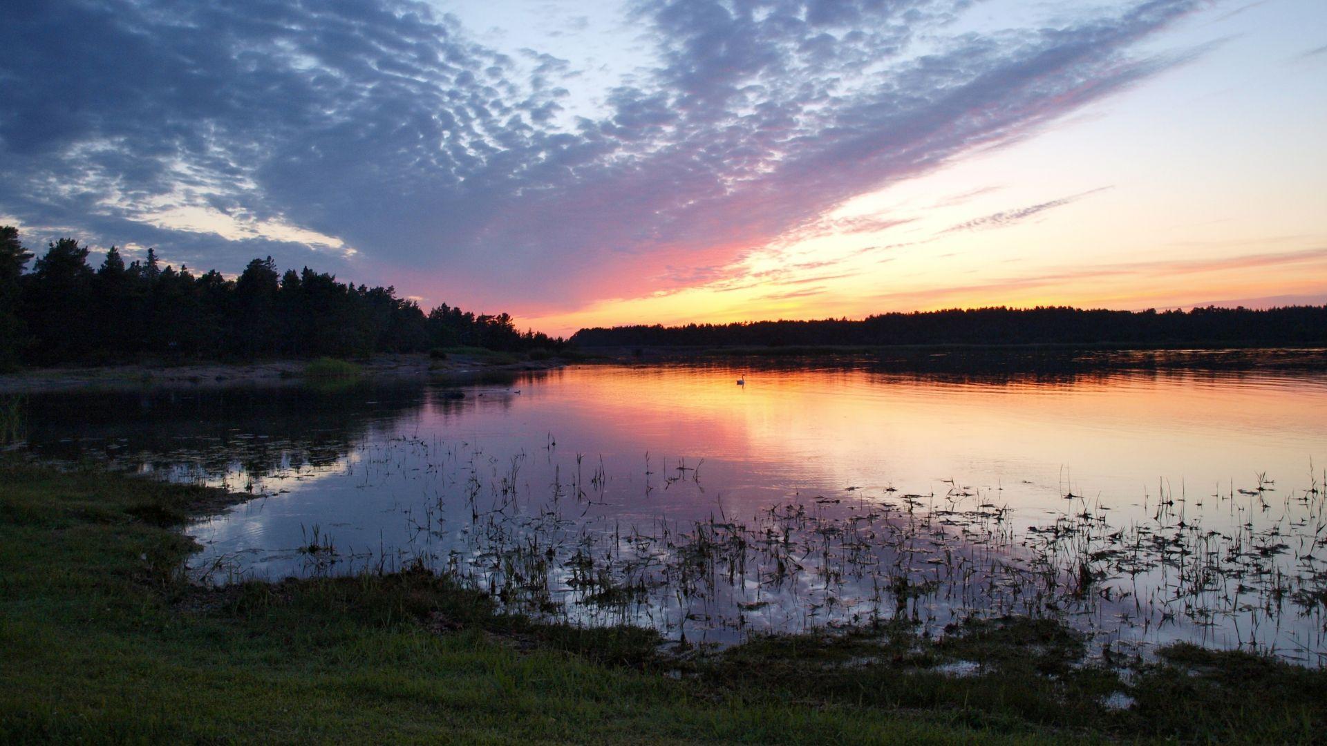 Wallpaper Evening at lake