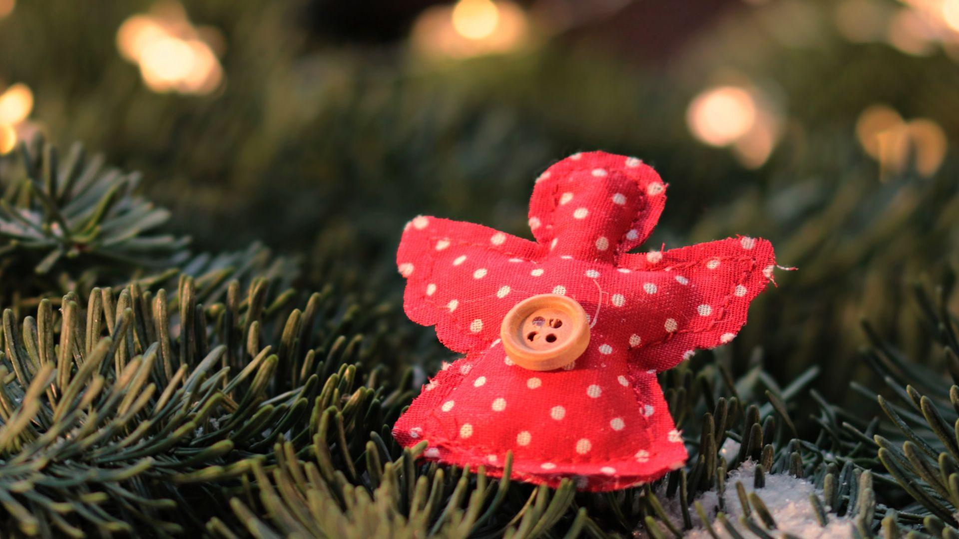 Wallpaper Christmas, angel, pine tree, branches, 2017, 5k