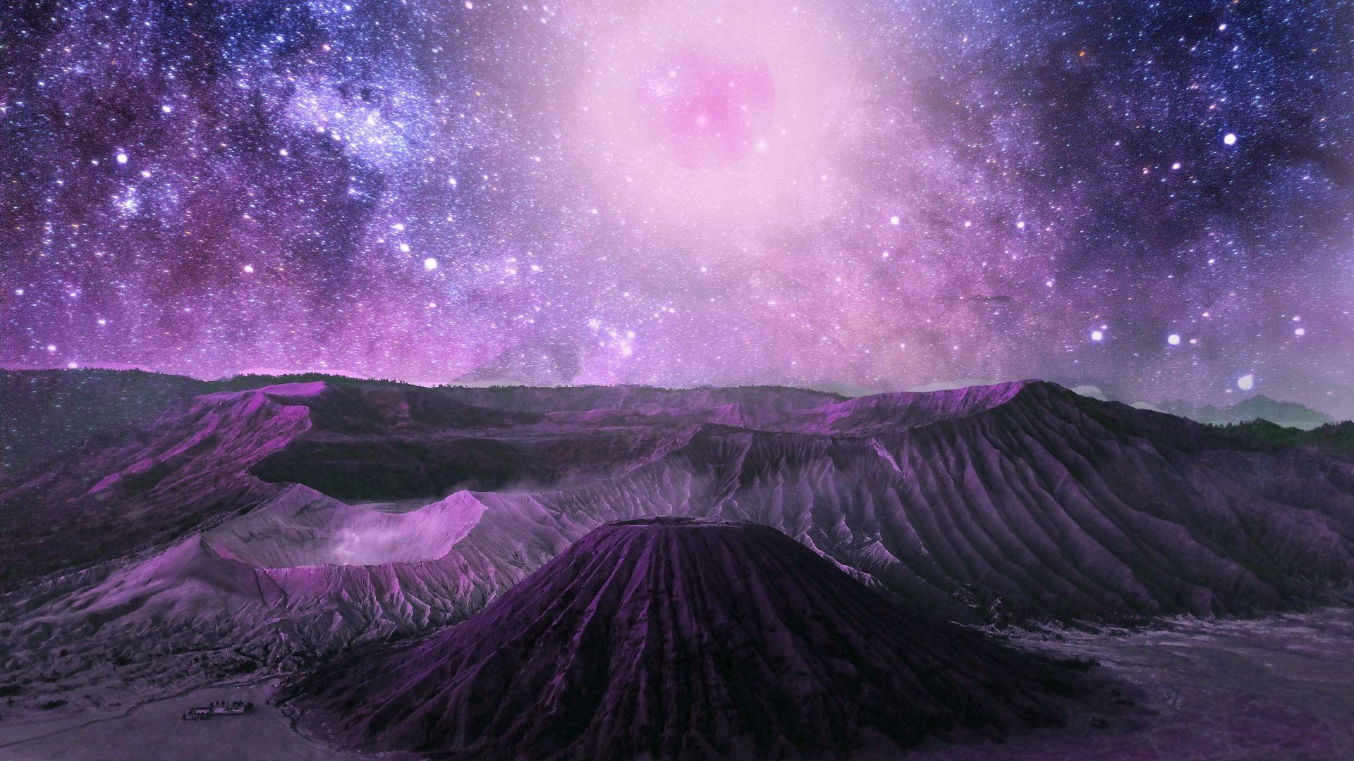 Galaxy Mountains Stars Space Cosmos 4k Wallpaper