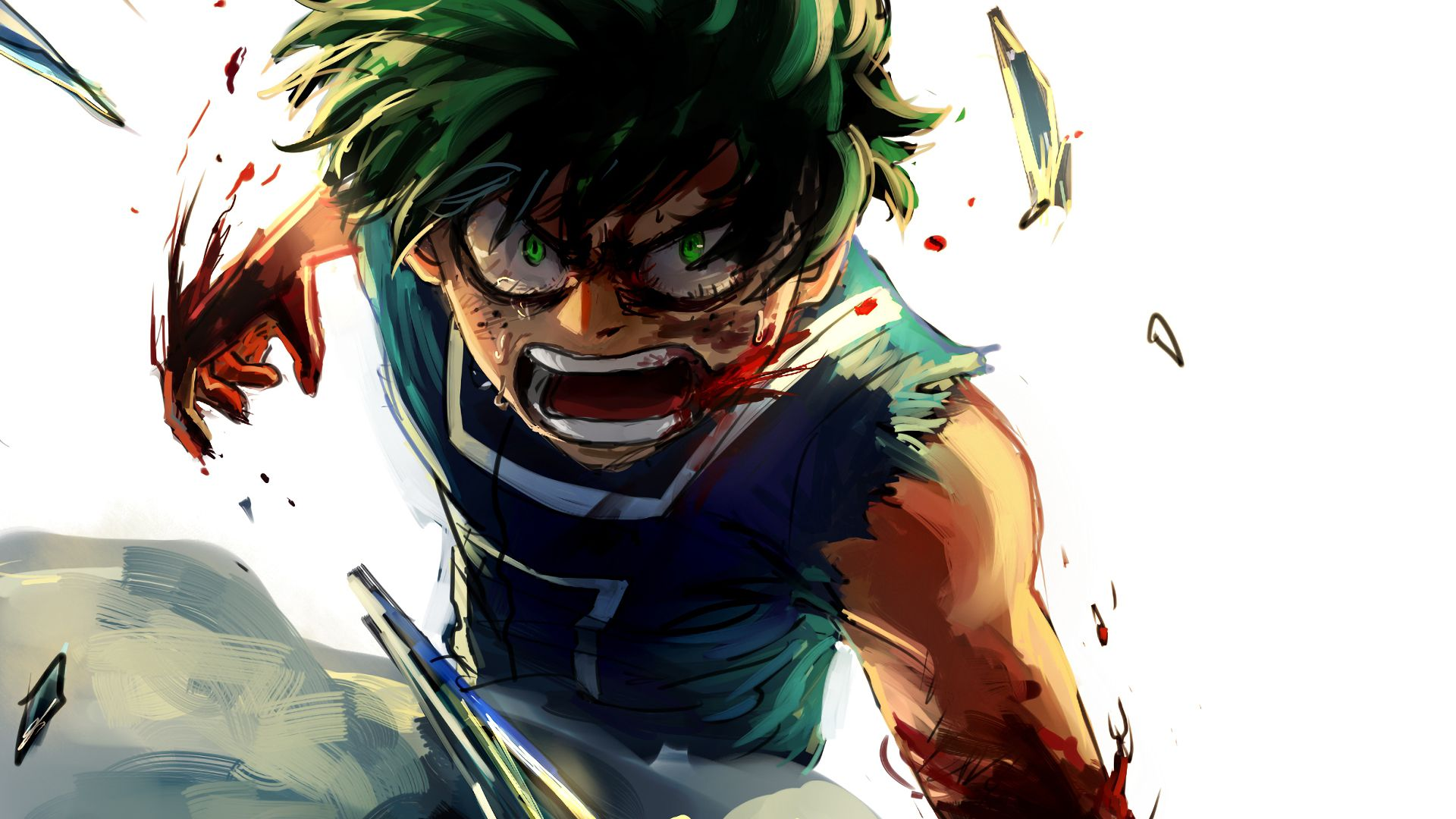 Wallpaper Angry, anime boy, My Hero Academia, Izuku Midoriya