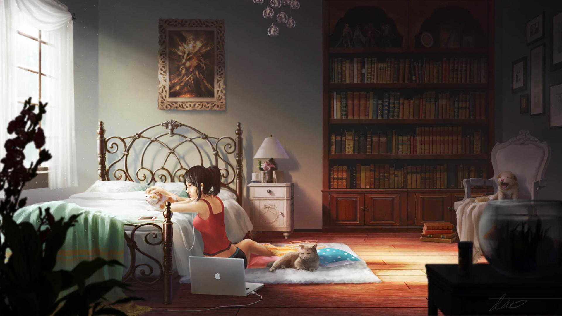 Desktop Wallpaper Cute Anime Girl, Relaxed, Bedroom ...