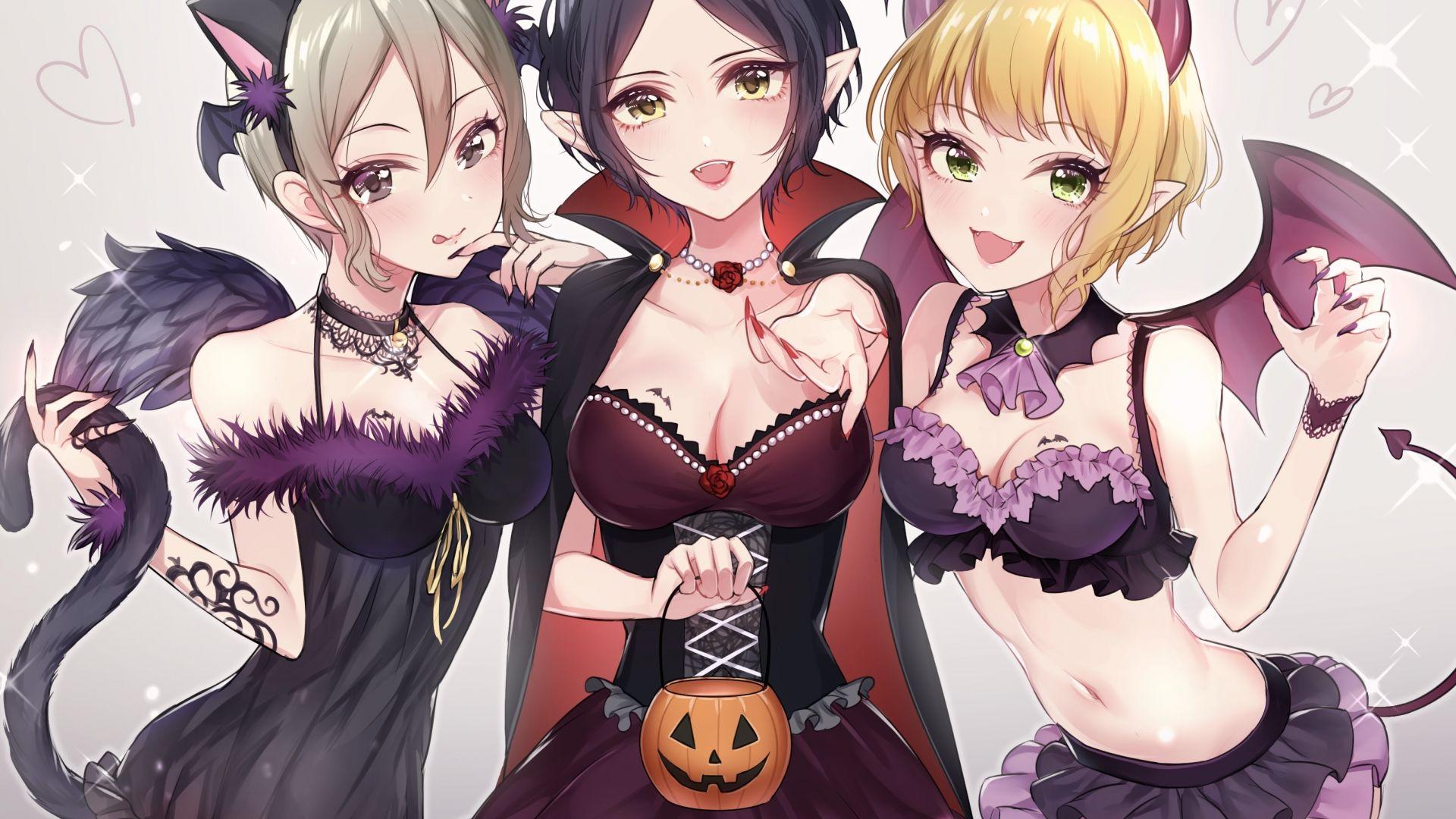 Wallpaper Friends, anime girls, halloween