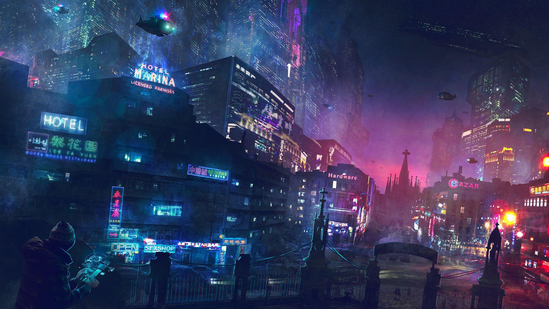 Desktop Wallpaper Cyberpunk, Night, Lights, Future City ...