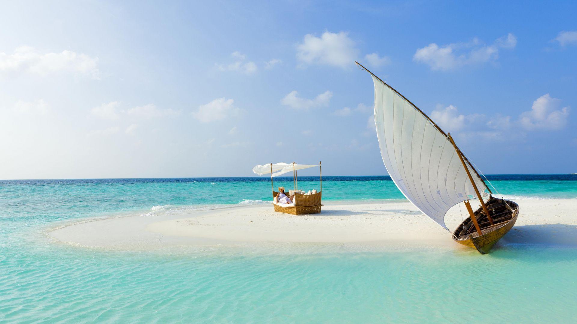 Wallpaper Maldives beach, island, beach, ship, holiday