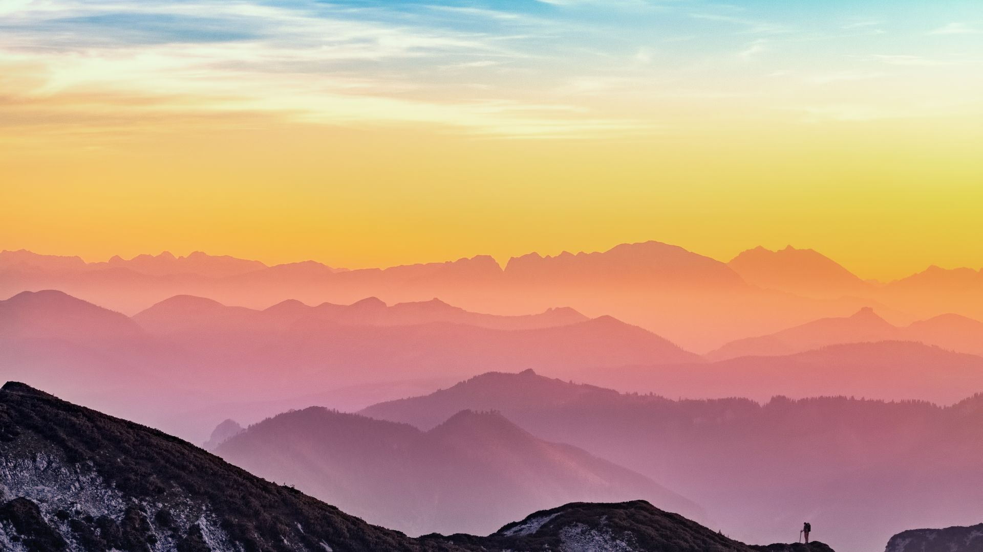 Wallpaper Sunset, horizon, mountains, nature, 4k