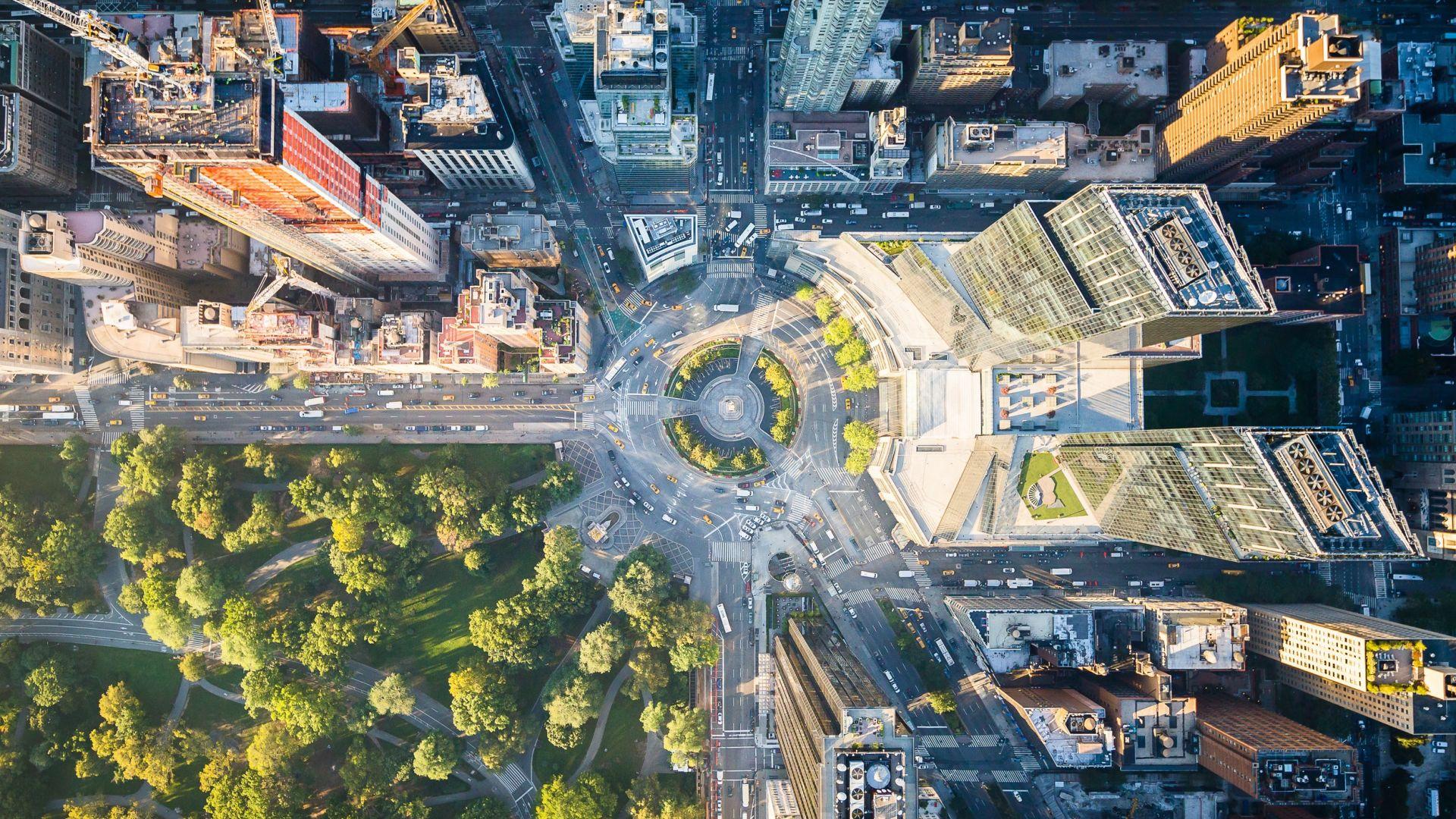 Wallpaper New york, city, park, aerial view, buildings