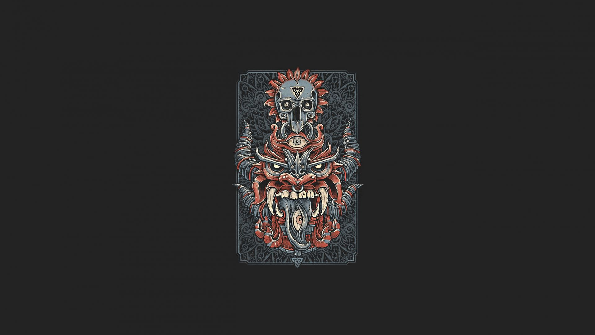 Wallpaper Dragon, head, minimal, skull, card