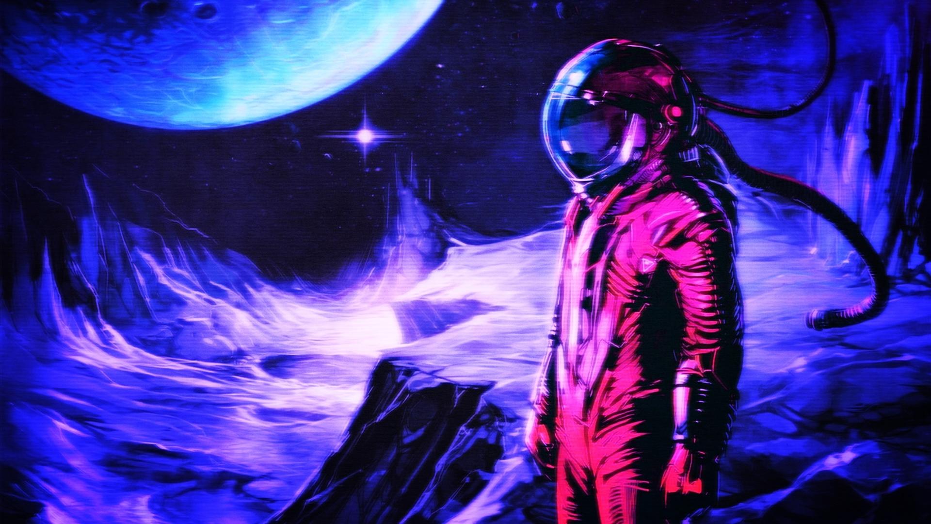 Wallpaper Astronaut, retro style, digital art