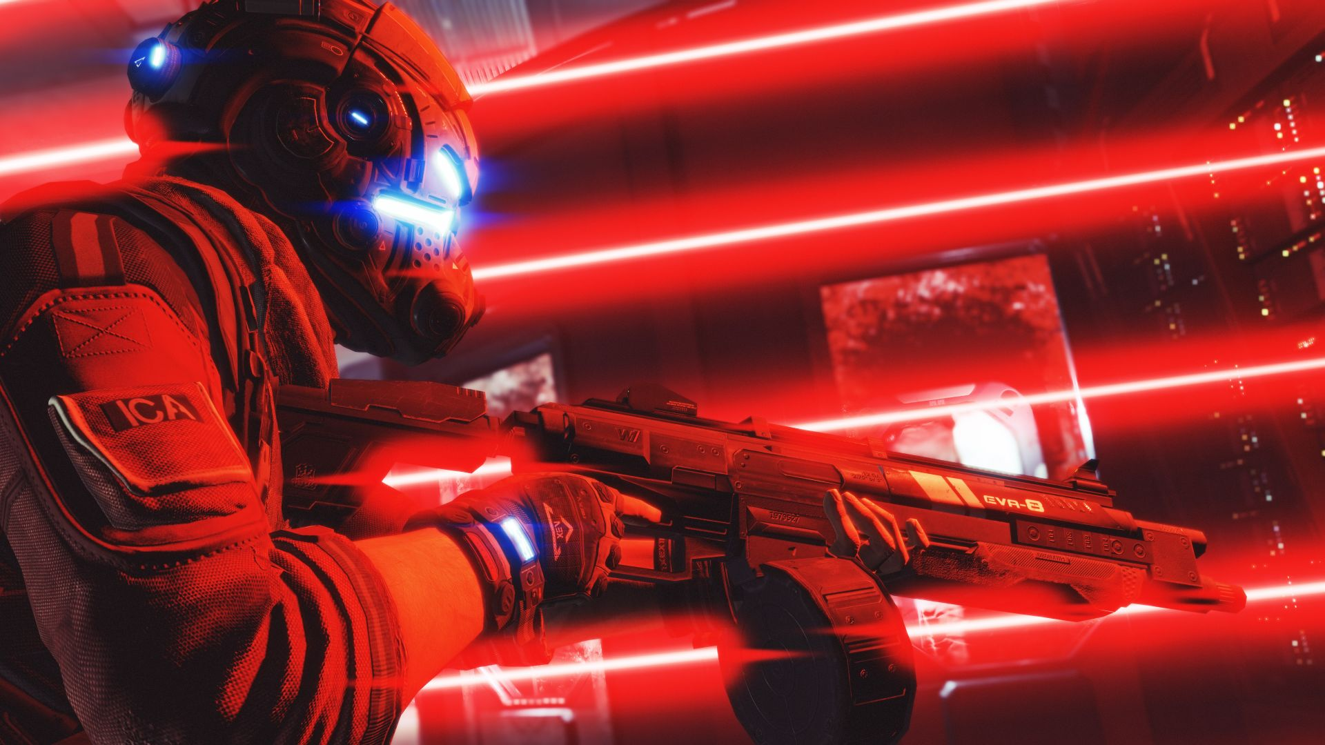 Wallpaper Titanfall 2 soldier in red light